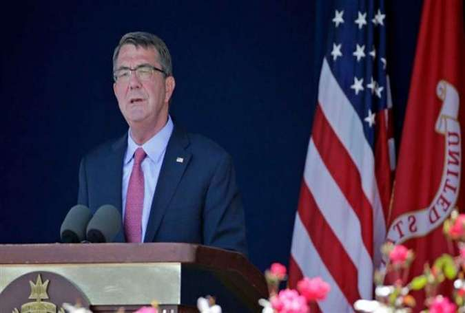 Secretary of Defense Ashton Carter gives his graduation address at the US Naval Academy on Friday.