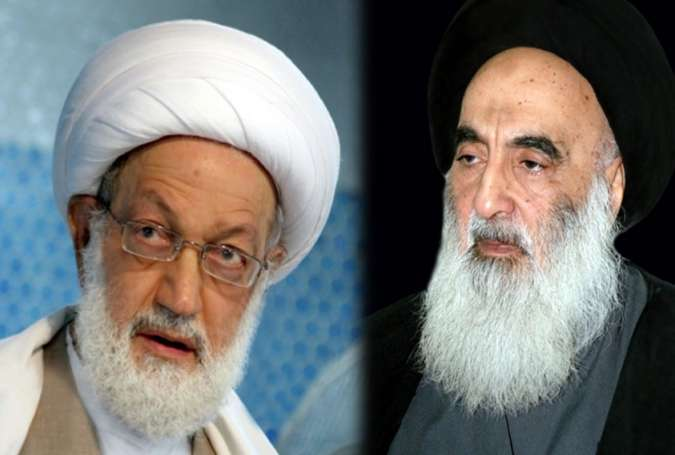 Iraq's top Shiite cleric, Grand Ayatollah al-Sistani, has praised efforts by Bahrain's prominent Shi'a scholar Ayatollah Isa Qassim in defending people's rights through peaceful means.