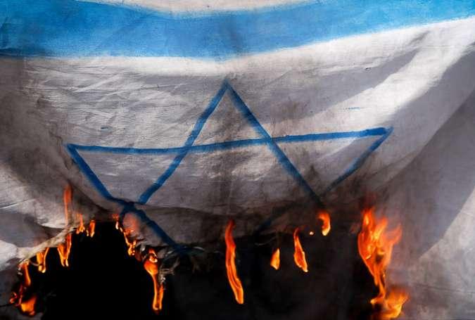 آتش زدن پرچم رژیم صهیونیستی در تظاهرات امریکا