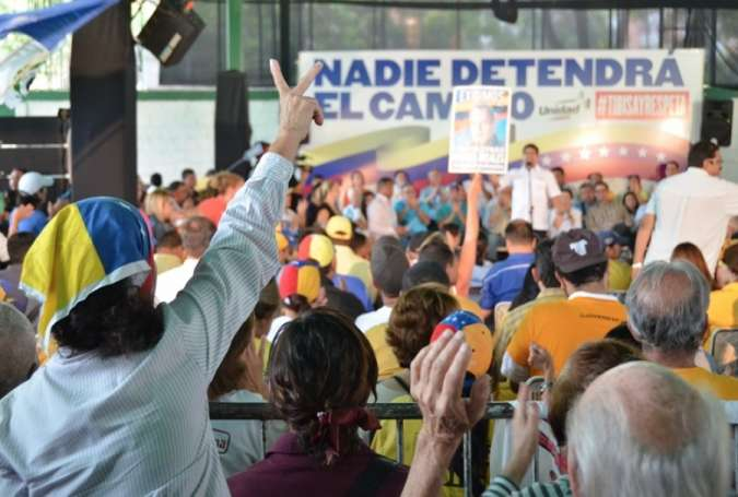 A Venezuelan opposition rally in favour of the recall referendum