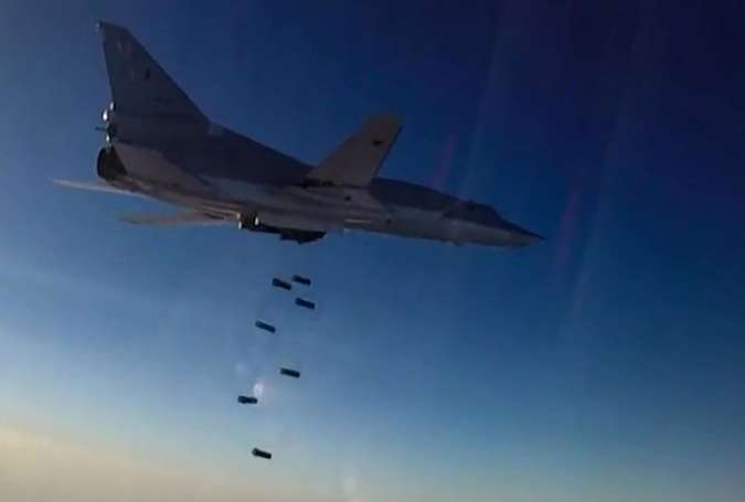 A Tupolev Tu-22M3 Backfire long-range bomber hits ISIS targets in Syria