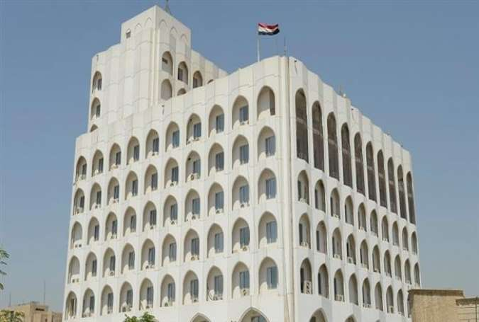 This file photo shows a view of the Iraqi Foreign Ministry building in central Baghdad.