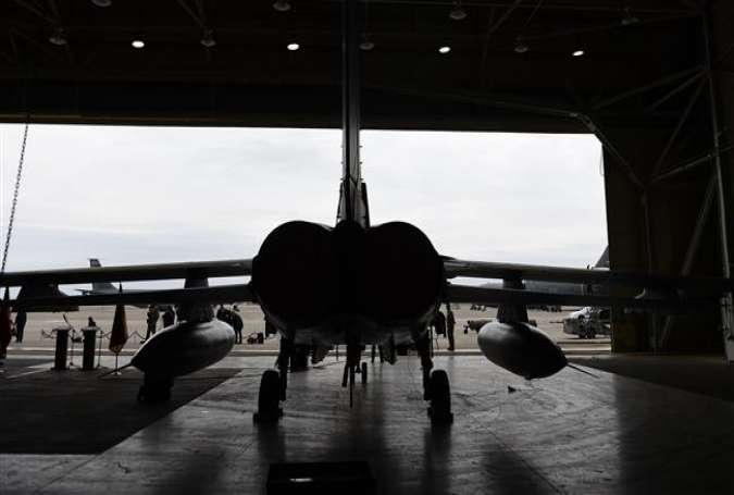 A German Tornado jet is pictured in a hangar at Turkey