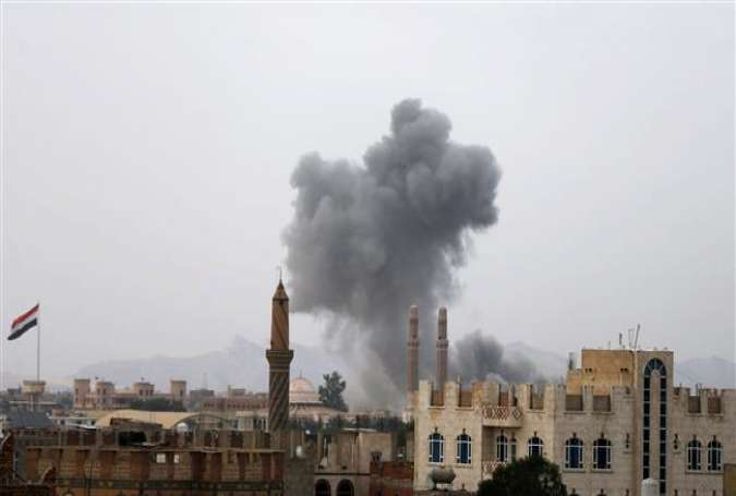 Smoke rises from the site of a Saudi-led air strike in Sana