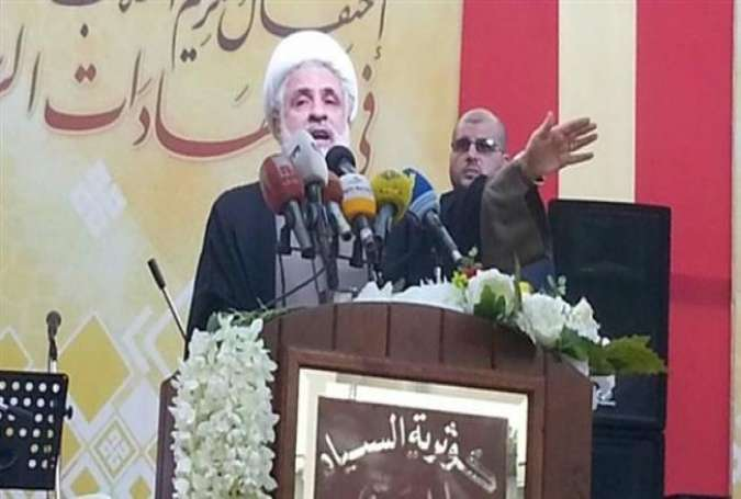 Hezbollah Deputy Secretary General Sheikh Naim Qassem speaks during a ceremony in the south Lebanon village of Kawthariyat al-Siyad, Sept. 4, 2016.
