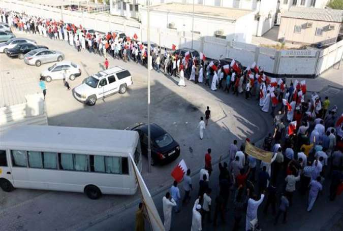 Protesters near the house of Sheikh Isa Qassim