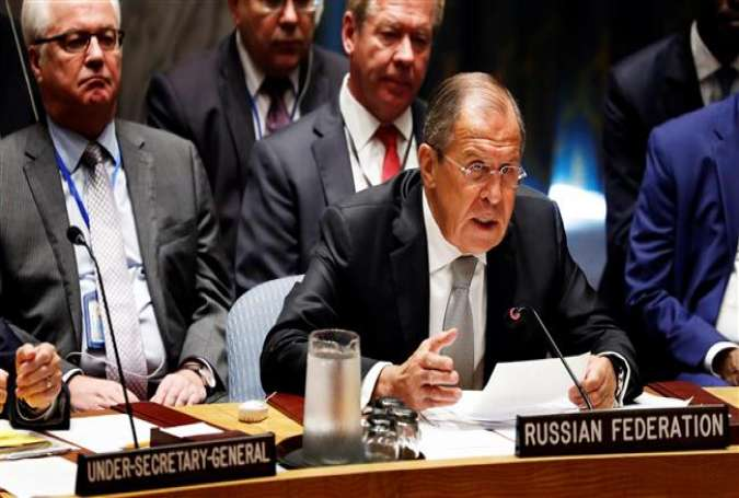 Russian Foreign Minister Sergey Lavrov speaks during a meeting of the United Nations Security Council to address the situation in the Middle East during the 71st session of the UN General Assembly at UN headquarters in New York on September 21, 2016.