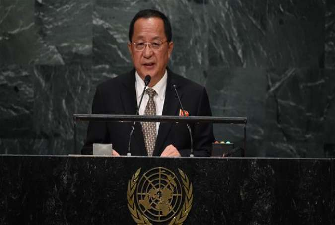 North Korean Foreign Minister Ri Yong-ho addresses the 71st session of the United Nations General Assembly at the UN headquarters in New York on September 23, 2016.