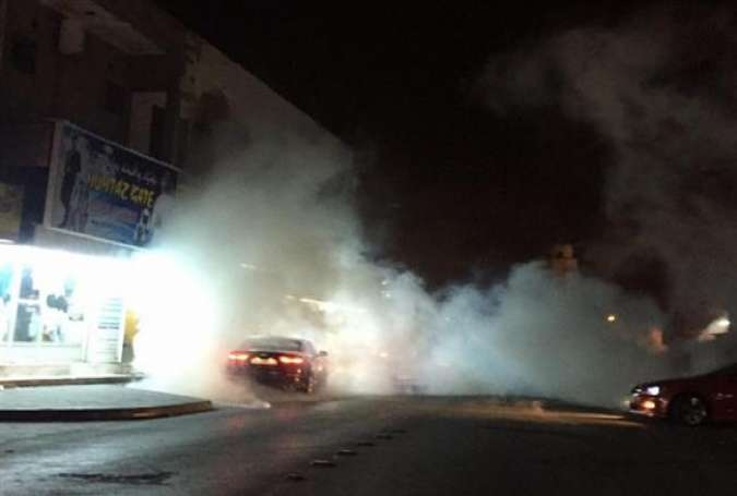 Streets are filled with tear gas amid clashes between supporters of prominent Shia Muslim cleric, Sheikh Issa Qassim, and Bahraini regime forces in the village of Diraz, Bahrain, on September 24, 2016.