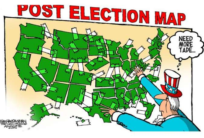 US Post Election Map - Islam Times