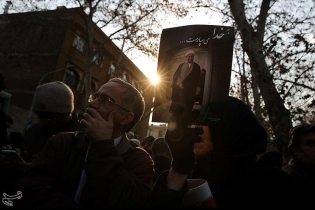 Mourners gather during the funeral of former president Ali Akbar Hashemi Rafsanjani in Tehran. Rafsanjani, who died on Sunday aged 82, was buried next to Ayatollah Ruhollah Khomeini, the leader of Iran