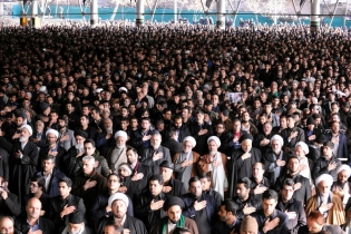 "People attend the funeral ceremony of Ali Akbar Hashemi Rafsanjani. An eyewitness told Reuters on the phone from Tehran: ""Some were chanting slogans asking for political prisoners to be released, some hardliners were shouting"