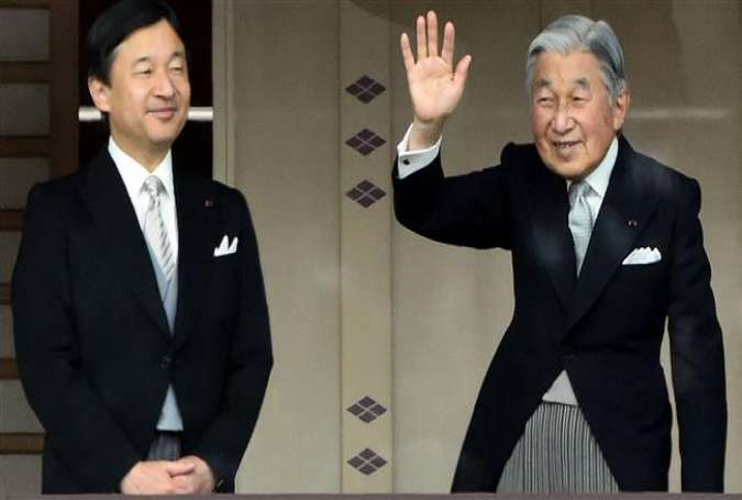 A file photo of Japan's Emperor Akihito (R) and Crown Prince Naruhito