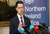 British Northern Ireland Secretary James Brokenshire calls for fresh assembly elections on March 2 in Belfast on January 16, 2017.