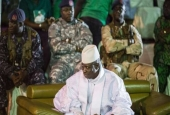 Gambian President Yahya Jammeh is seen during an election rally in capital, Banjul, November 29, 2016.