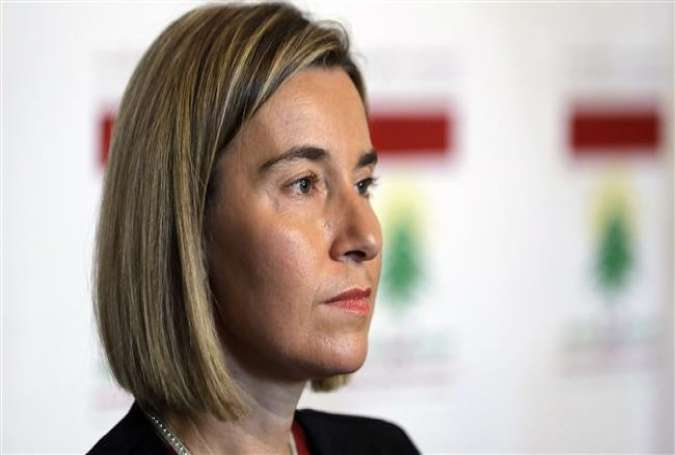 EU foreign policy chief Federica Mogherini holds a press conference with the Lebanese foreign minister after their meeting in Beirut on January 26, 2017.
