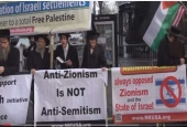 Anti-Zionist Orthodox Jews demonstrate in support of a total Free Palestine.