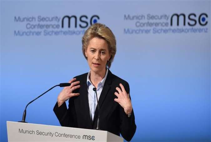 German Defense Minister Ursula von der Leyen addresses the first day of the 53rd Munich Security Conference in Munich, southern Germany, on February 17, 2017.