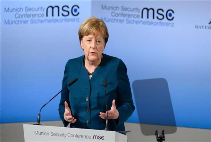 German Chancellor Angela Merkel delivers a speech on the 2nd day of the 53rd Munich Security Conference (MCS) in Munich, southern Germany, on February 18, 2017.