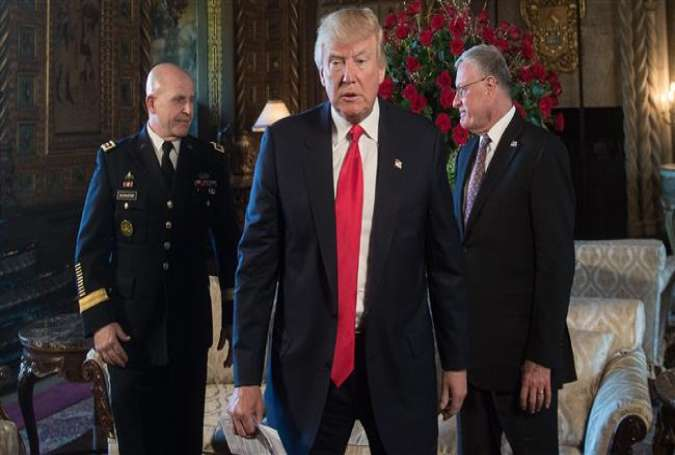 US President Donald Trump (C) walks away after naming US Army lieutenant general H.R. McMaster (L) as his national security advisor and Keith Kellogg (R) as McMaster