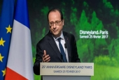 French President Francois Hollande delivers a speech during a ceremony marking the 25th anniversary of Disneyland Paris in Marne-La-Vallee, east of Paris, on February 25, 2017.