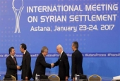 This file photo shows delegates at a previous round of peace talks for Syria in the Kazakh capital of Astana on January 23, 2017.