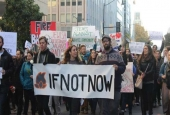Activists march outside of the American Israel Public Affairs Committee conference in Washington, DC on Sunday. The protest was organised by  IfNotNow.