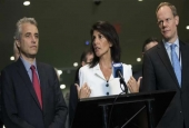 Flanked by French Deputy Representative to the United Nations Alexis Lamek (L) and British Representative to the United Nations Matthew Rycroft (R), US Ambassador to the United Nations Nikki Haley speaks to reporters at the UN headquarters, March 27, 2017, in New York City. (Photo by AFP)