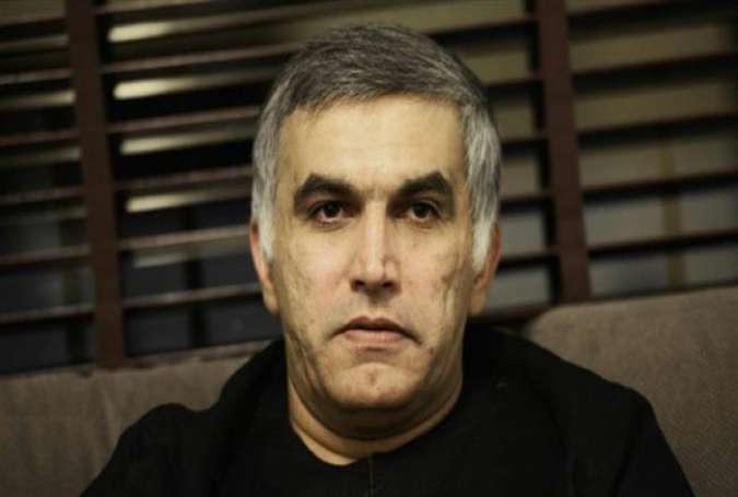 A file picture taken on November 2, 2014, shows Bahraini human rights activist Nabeel Rajab looking on at his home in the village of Bani Jamrah, West of Manama, upon his release on bail. (Photo by AFP)