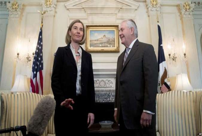 EU chief diplomat Federica Mogherini reacts to questions from the media as she meets with US Secretary of State Rex Tillerson, Feb. 9, 2017 at the State Department in Washington.