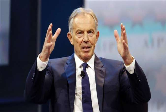 Former British Prime Minister Tony Blair speaks during a the American Israel Public Affairs Committee (AIPAC) Policy Conference in Washington, March 26, 2017. (Photo by AFP)