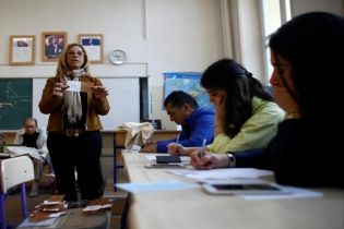 Election officials count votes at a polling station during a referendum in Izmir, Turkey.