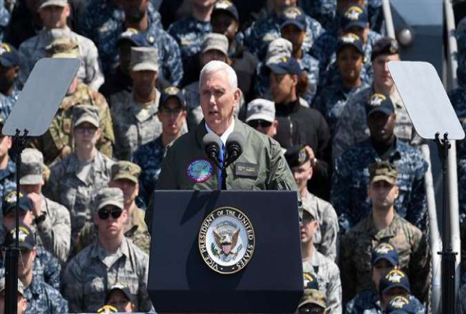 US Vice President Mike Pence delivers a speech before US and Japanese soldiers on board the USS Ronald Reagan at the US Naval base in Yokosuka, on April 19, 2017. (Photo by AFP)
