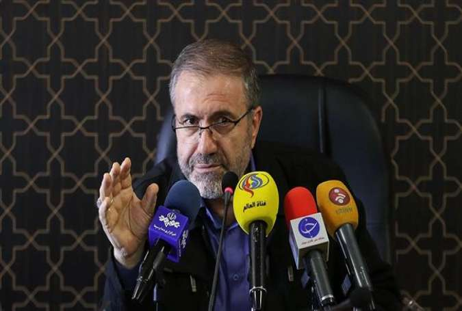 Hossein Zolfaqari , the Iranian deputy interior minister for security affairs, gestures during a press conference in Tehran on April 19, 2017. (Photo by IRNA)