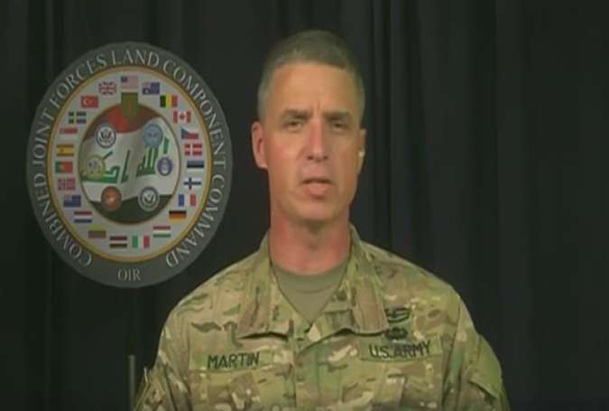 US Army Major General Joseph Martin speaks via video conference from the Iraqi capital of Baghdad
