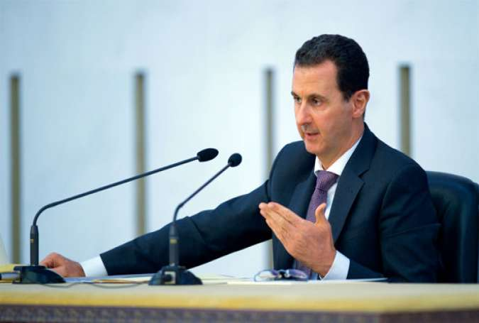 Syrian President Bashar al-Assad addresses a meeting of the Central Committee of Al-Baath Arab Socialist Party