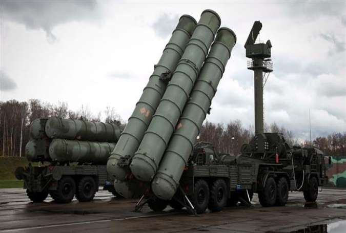 This file photo shows a Russian S-300 surface-to-air missile defense system.