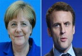 "This combination of photos shows German Chancellor Angela Merkel (L) and French presidential candidate for the ""En Marche!"" movement Emmanuel Macron. (By AFP)"