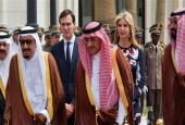 Saudi King Salman bin Abdulaziz Al-Saud (L), Saudi Crown Prince and Minister of Interior, Muhammad bin Nayef Abdulaziz (C), and Deputy Crown Prince Mohammed bin Salman (L), walking in front of Jared Kushner (background-L) and Ivanka Trump (back-R) during an arrival ceremony at the Saudi Royal Court in Riyadh, on May 20, 2017. (Photo via AFP)