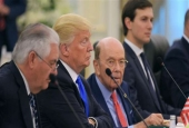 (From L) US Secretary of State Rex Tillerson, US President Donald Trump, Commerce Secretary Wilbur Ross and advisor Jared Kushner take part in bilateral meeting with Saudi Arabia