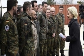 German Defense Minister Ursula von der Leyen, right, meets with soldiers during a visit of the German armed forces at Incirlik air base, Turkey, January 21, 2016. (Photo by AP)