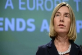 European Union High Representative for Foreign Affairs and Security Policy Federica Mogherini talks to the media at the European Union Commission headquarter in Brussels, on June 07, 2017. (Photo by AFP)