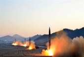 This photograph distributed by North Korea's state news agency shows the launch of four ballistic missiles. (File photo by Korean Central News Agency)