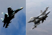 Russian Su-27 Confronts NATO F-16 Approaching Country's Defense Minister's Plane