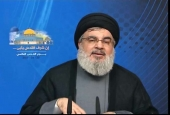 Hezbollah Secretary General Sayyed Hasan Nasrallah during ceremony on the occasion of Al-Quds Day in Beirut