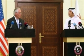US Secretary of State Rex Tillerson (L) and Qatari Foreign Minister Sheikh Mohammed bin Abdulrahman Al-Thani speak during a press conference in Doha, on July 11, 2017. (Photo by AFP)