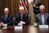 This file photo shows US President Donald Trump(C), Vice President Mike Pence (L), and Secretary of State Rex Tillerson at the White House in Washington, DC, on June 30, 2017. (By AFP)