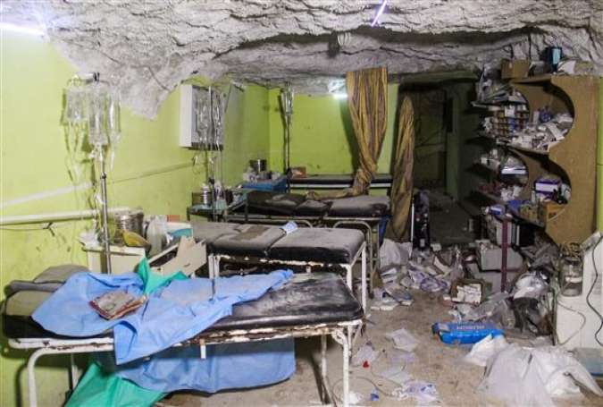 The picture taken on April 4 shows destruction at a hospital room in Khan Shayhun, Idlib Province, Syria, following an alleged chemical weapons attack.