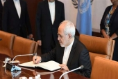 Iranian Foreign Minister Mohammad Javad Zarif meets with United Nations Secretary General António Guterres on July 17, 2017 at the United Nations Headquarters in New York. (Photo by AFP)
