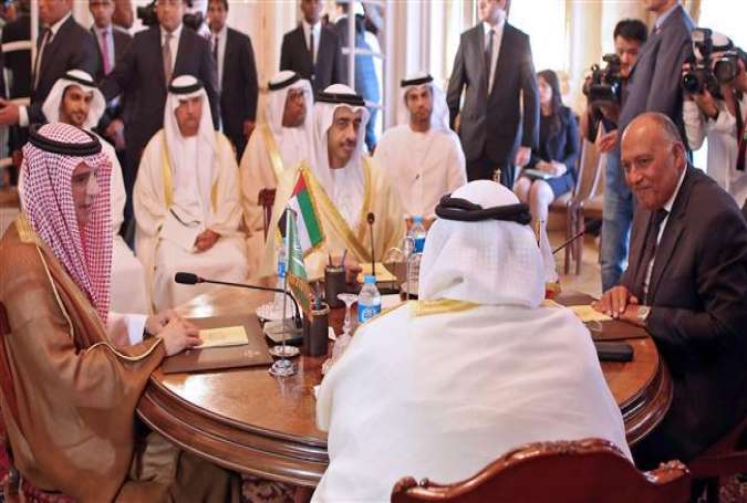 Foreign ministers from a Saudi-led bloc of countries (R) meet in the Egyptian capital, Cairo, on July 5, 2017, to discuss the Persian Gulf diplomatic crisis with Qatar. (Photo by AFP)